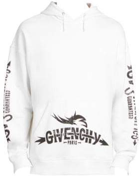 Givenchy Men's Sleeve-Print Logo Hoodie - White - Size XL