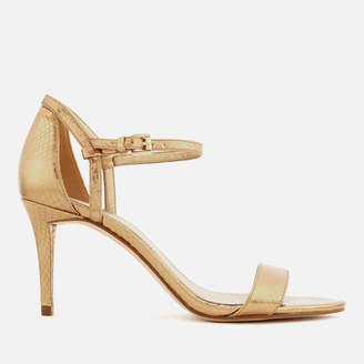 MICHAEL Michael Kors Women's Simone Shiny Metallic Snake Barely There Heeled Sandals