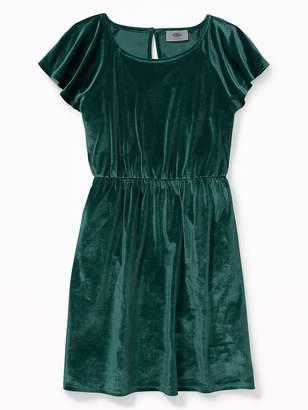 Old Navy Velvet Waist-Defined Flutter-Sleeve Dress for Girls