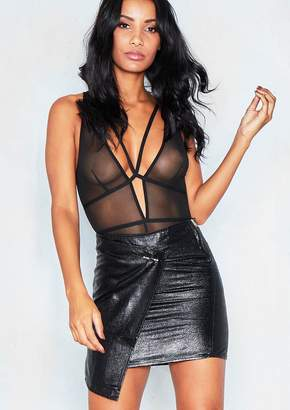 Missy Empire Missyempire Karlie Black Shiny Wrap Mini Skirt