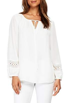 Wallis Crochet Trim Peasant Blouse