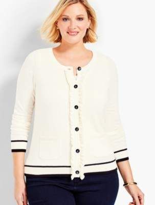 Talbots Ruffle-Front Cardigan Sweater