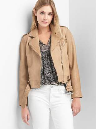 Gap Leather belted moto jacket