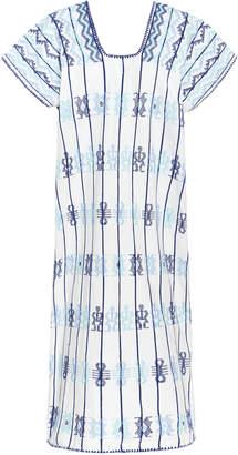 Pippa Holt White And Blue Cotton Midi Caftan