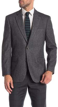 Tommy Hilfiger Charcoal Black Herringbone Two Button Notch Lapel Classic Fit Blazer