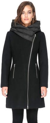 Soia & Kyo FLORINA slim-fit wool coat with puffy hood
