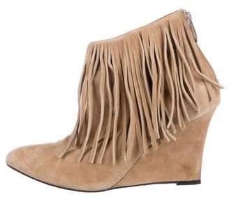 Elyse Walker Fringe-Trimmed Wedge Boots