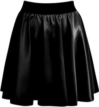 RIDDLED WITH STYLE Womens Wetlook Skater PVC Flared Mini Skirt Ladies Shorts#( Wetlook Flared Mini Skirt#UK 8-10#Womens)