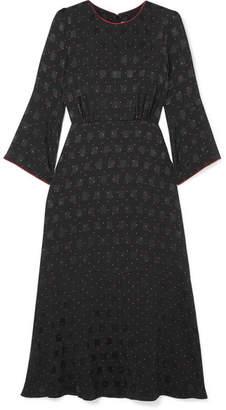 Cefinn - Polka-dot Satin-jacquard Midi Dress - Black