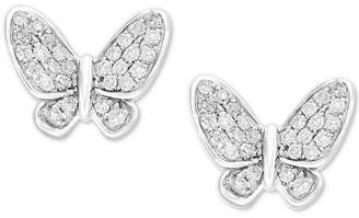 Effy Children's Diamond Butterfly Stud Earrings (1/6 ct. t.w.) in 14k White Gold