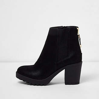 River Island Black zip back heeled boots