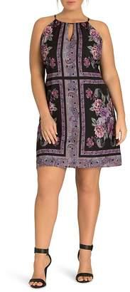 City Chic Plus Paisley Tile-Print Dress