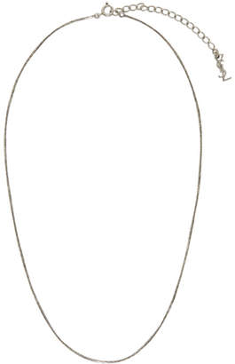 Saint Laurent Silver Short Logo Necklace