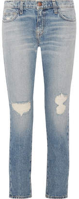 Current/Elliott The Fling Distressed Low-rise Slim Boyfriend Jeans - Light denim