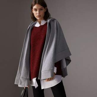 Burberry Embroidered Jersey Hooded Cape, Grey