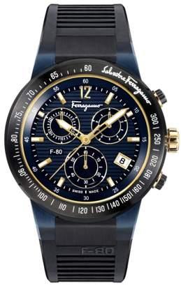 Salvatore Ferragamo F-80 Chronograph Rubber Strap Watch, 44mm