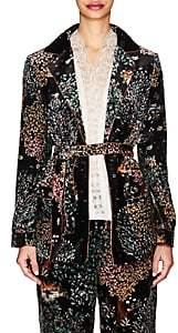 Alberta Ferretti Women's Garden-Print Velvet Belted Blazer-Black