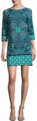 LONDON STYLE 3/4 Sleeve Pattern Shift Dress-Petite