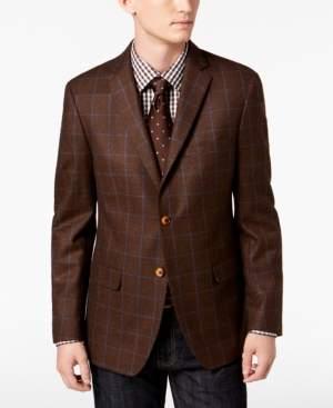 Tallia Men's Big & Tall Slim-Fit Brown/Blue Windowpane Wool Sport Coat