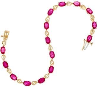 "Ruby, Emerald or Sapphire 8"" Leaf Design Tennis Bracelet, 14K"