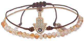 lonna & lilly Gold-Tone Crystal Hamsa Hand Bead and Cord Bolo Bracelet