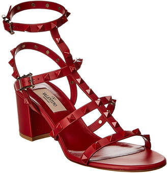 Valentino Lacquer Cage 60 Rockstud Leather Sandal