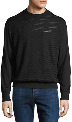 Stefano Ricci Men's Crewneck Sweater With Crocodile