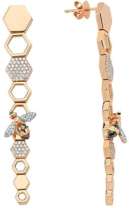 Bee Goddess Rose Gold and Diamond Honeycomb Earrings
