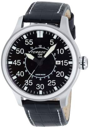 Torgoen Pilot T34 Series T34101 45mm Stainless Steel Case Leather Mineral Men's Watch