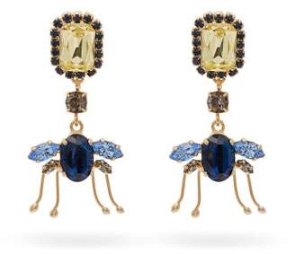 Erdem Ladybird Crystal Drop Earrings - Womens - Blue