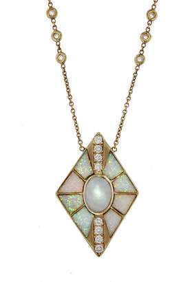 Jacquie Aiche Large Opal and Moonstone Kite Inlay Necklace - Yellow Gold
