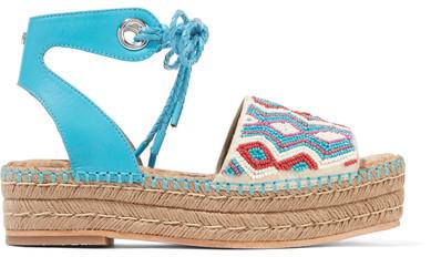 Sam Edelman - Neera Bead-embellished Leather Espadrille Sandals - Bright blue