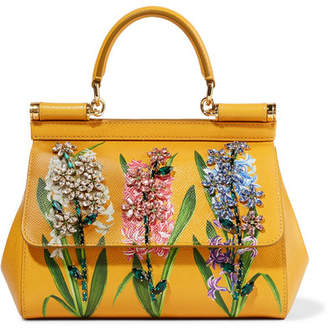 Dolce & Gabbana Sicily Small Embellished Printed Textured-leather Tote - Marigold