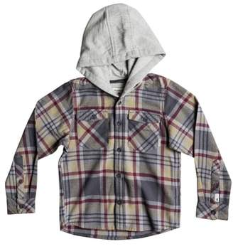 Quiksilver Hooded Plaid Flannel Shirt