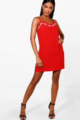 boohoo Embroidered Woven Shift Dress