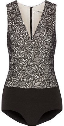 Alice + Olivia Zooey Lace And Stretch-Jersey Bodysuit $245 thestylecure.com