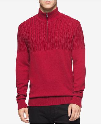Calvin Klein Men's Half-Zip Multi-Texture Turtleneck- Macy's Exclusive $98 thestylecure.com