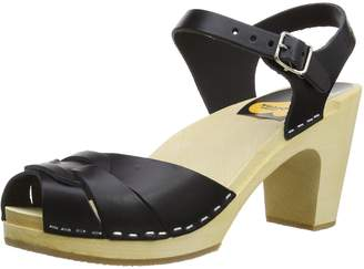 Swedish Hasbeens Women's Peep Toe Super High Platform Sandal,Black,40 EU (US Women's 10 M)
