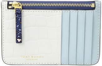Tory Burch Color Block Top Zip Card Case Credit card Wallet