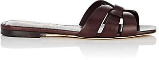 Saint Laurent Women's Nu Pieds Patent Leather Slide Sandals - Wine