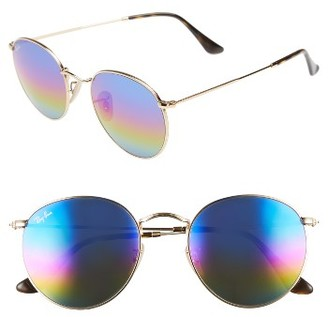 Women's Ray-Ban 53Mm Round Sunglasses - Blue/ Multi $175 thestylecure.com