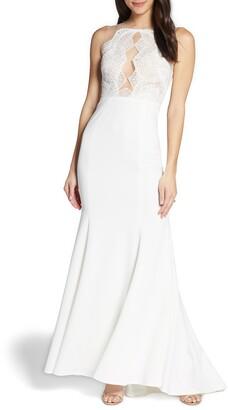By Watters Cutout Lace Bodice Wedding Dress