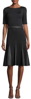 St. John Milano Knit Leather-Combo Dress