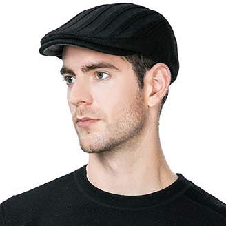 14c7e389 Jeff & Aimy Wool Newsboy Cap for Men Winter Hat Fitted Hunting Ivy Flat Cap  British