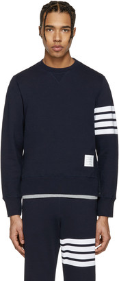 Thom Browne Navy Classic Four Bar Pullover $530 thestylecure.com