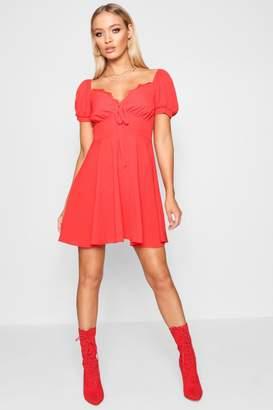 boohoo Tie Front Woven Tea Dress