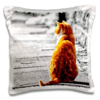 3dRose Sweet Orange Tabby Cat tinted painting of a cat sitting in the sun. - Pillow Case, 16 by 16-inch