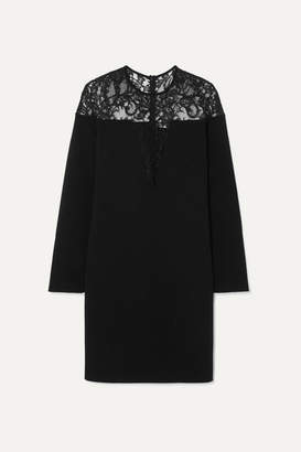 Givenchy Lace-trimmed Stretch-crepe Mini Dress - Black