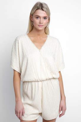 Ppla Kimono Sleeve Beaded Surplice Romper