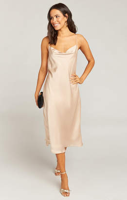 Show Me Your Mumu Verona Cowl Dress ~ Champagne Luxe Satin